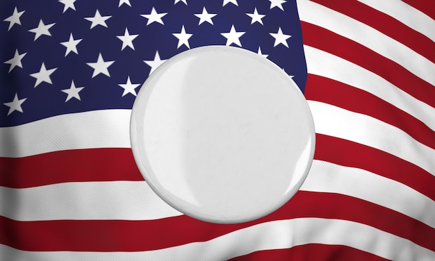 Vista frontal da insígnia em branco com a bandeira americana para as eleições americanas