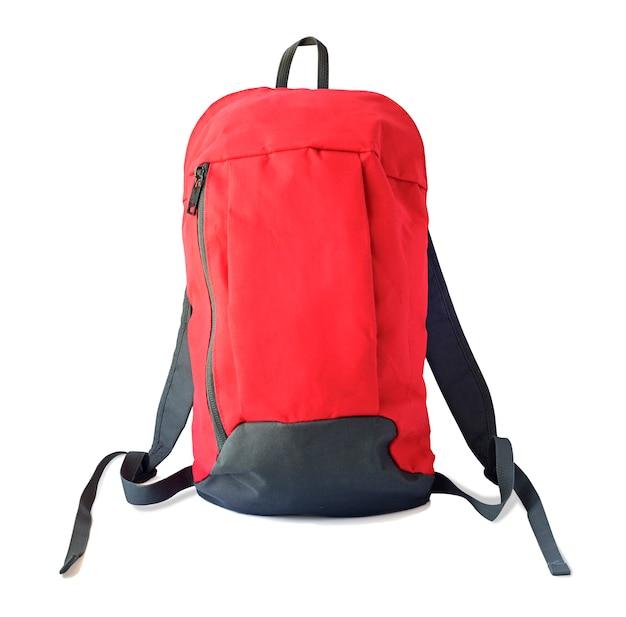 Vista frontal da mochila vermelha com alças para escola, viagem ou esporte