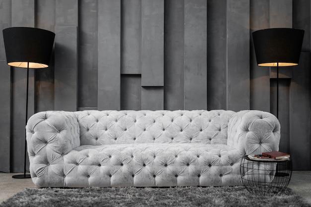 Vista frontal da moderna sala de estar