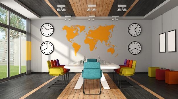 Vista frontal da moderna sala de reuniões