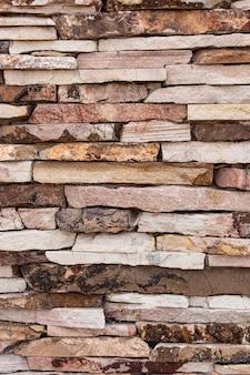 Vista frontal da parede com pedras