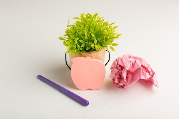 Vista frontal da planta verde com adesivo e caneta na superfície branca