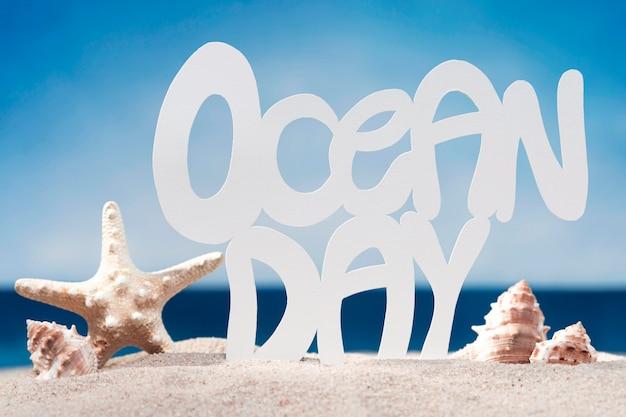 Vista frontal da praia com estrela do mar e conchas do mar