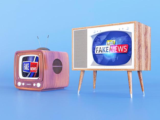 Vista frontal da tv com notícias falsas