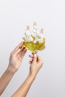 Vista frontal das mãos segurando flores