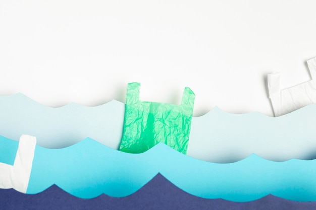 Vista frontal das ondas do oceano de papel