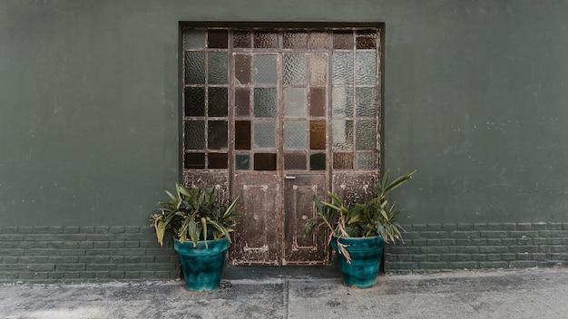 Vista frontal das portas da casa com vidros e plantas