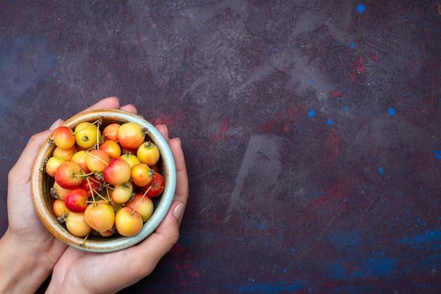 Vista frontal de ameixas de frutas frescas dentro do prato, segurando por uma mulher na superfície escura