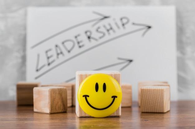 Vista frontal de blocos de madeira com liderança
