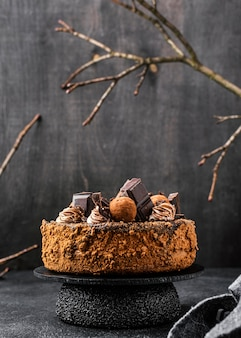 Vista frontal de bolo de chocolate em estande com espaço de cópia