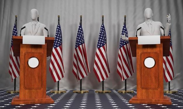 Vista frontal de dois pódios com candidatos e bandeiras para as eleições americanas