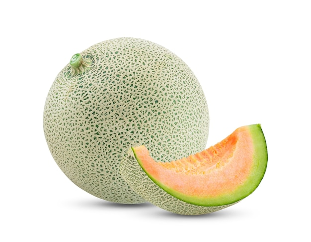 Vista frontal de melão maduro com fatia