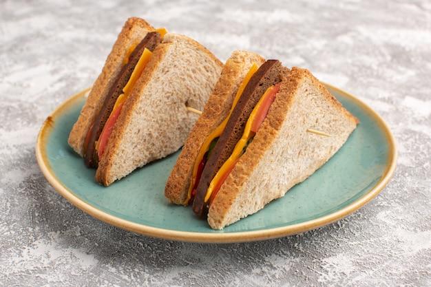 Vista frontal de sanduíches saborosos de torradas com presunto de queijo dentro de um prato azul sobre branco