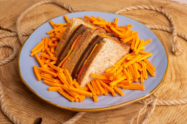Vista frontal de sanduíches saborosos de torradas com presunto de queijo e batatas fritas dentro de um prato com cordas em bege