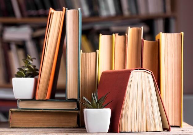 Vista frontal de suculentas em cima de livros de capa dura na biblioteca