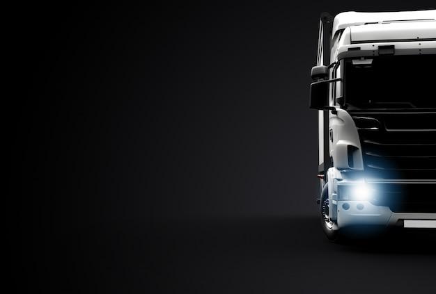 Vista frontal de um caminhão