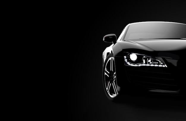Vista frontal de um carro preto moderno genérico e brandless