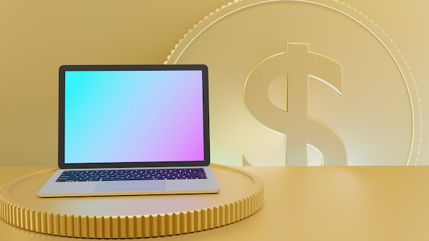Vista frontal de um computador laptop no fundo da mesa e moeda de ouro. renderização 3d