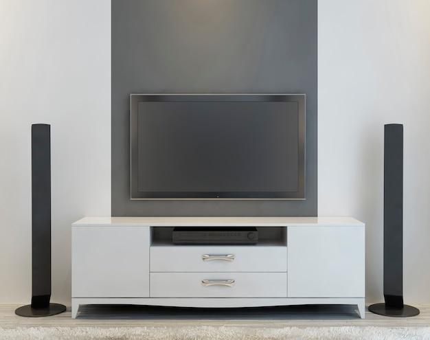 Vista frontal de um elegante console de tv branco e alto-falantes de música. 3d render.