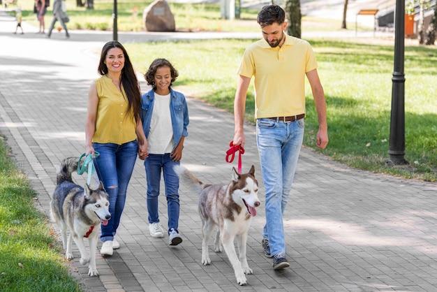 Vista frontal de uma família com um menino e um cachorro no parque juntos
