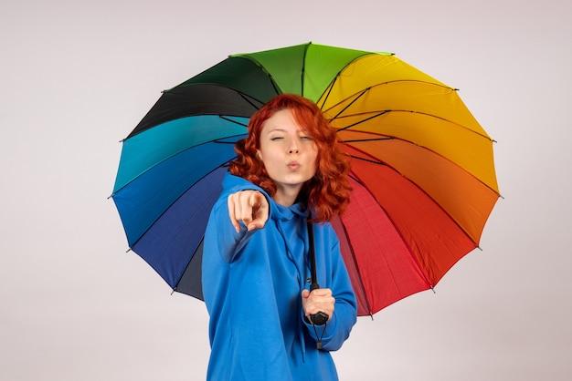 Vista frontal de uma jovem mulher com guarda-chuva colorido na parede branca
