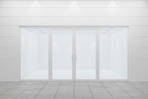 Vista frontal de uma vitrine vazia da loja. design com aluminuína branca e vidro. renderização de ilustração 3d.