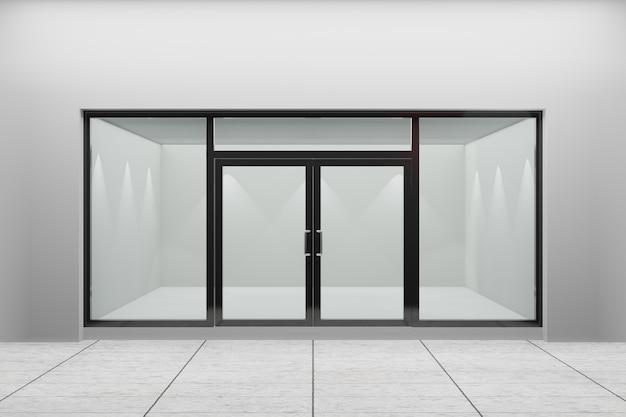 Vista frontal de uma vitrine vazia da loja. design com aluminuína preta e vidro. renderização de ilustração 3d.