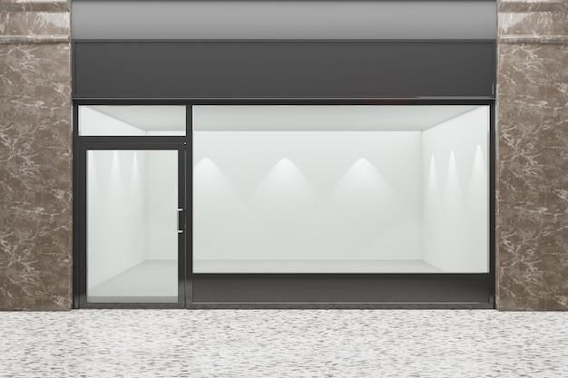 Vista frontal de uma vitrine vazia da loja. projeto com aluminuíno preto e mármore de vidro. renderização de ilustração 3d.