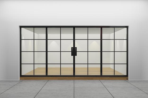 Vista frontal de uma vitrine vazia da loja. projeto com aluminuíno preto e piso de madeira de vidro. renderização de ilustração 3d.