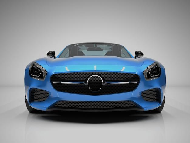 Vista frontal do carro esportivo. a imagem de um carro esporte azul em um fundo branco