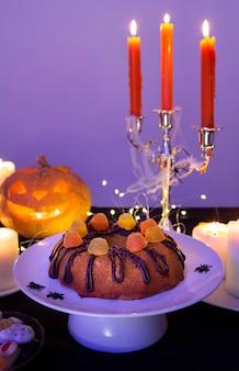 Vista frontal do conceito de abóbora de halloween
