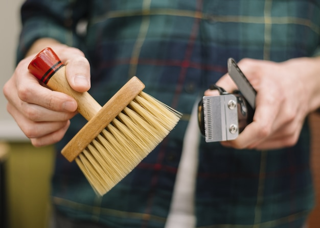 Vista frontal do conceito de barbearia