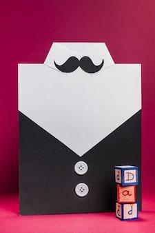 Vista frontal do conceito de dia dos pais com bigode