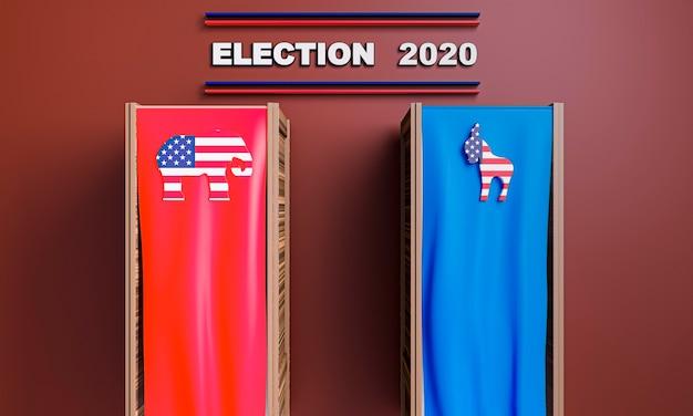 Vista frontal do conceito de eleições nos eua