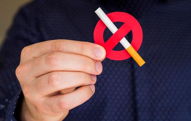 Vista frontal do conceito de não fumar