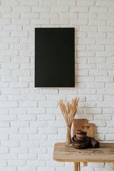 Vista frontal do conceito de quadro em branco