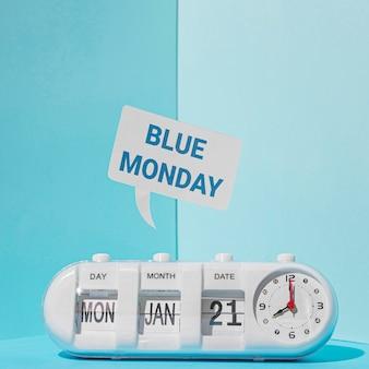 Vista frontal do conceito de segunda feira azul