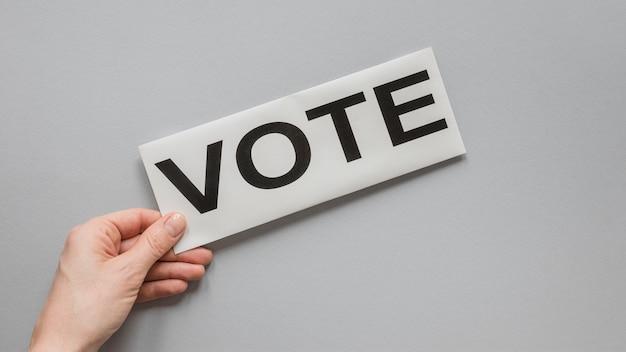 Vista frontal do conceito de votação de eleições