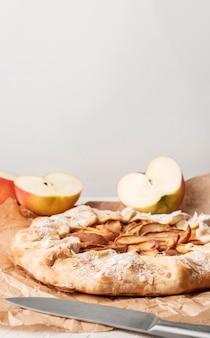Vista frontal do espaço da cópia da torta de maçã