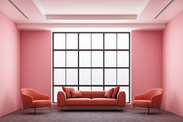 Vista frontal do estilo industrial loft espaço vazio interior com janelas de piso de concreto e luz solar conceito imobiliário renderização em 3d