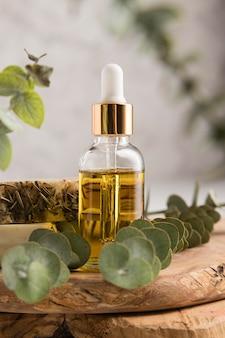 Vista frontal do frasco de óleo essencial