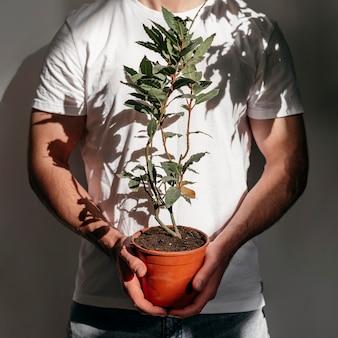 Vista frontal do homem segurando o vaso com a planta