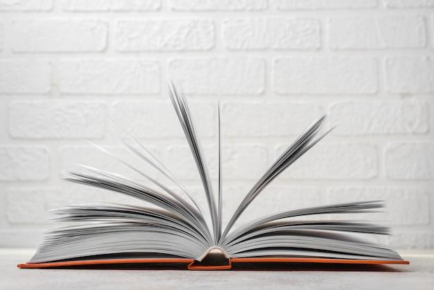 Vista frontal do livro de capa dura aberto na mesa