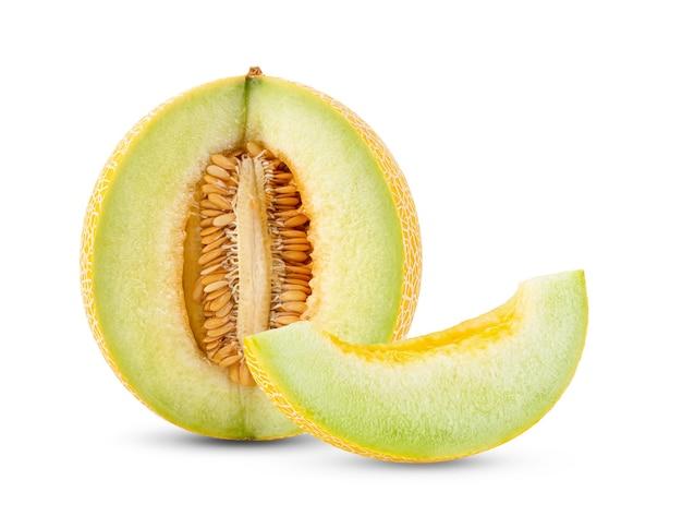 Vista frontal do melão amarelo