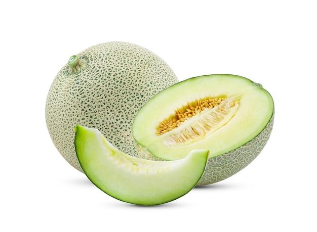 Vista frontal do melão com fatia
