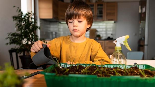 Vista frontal do menino regando as plantações em casa