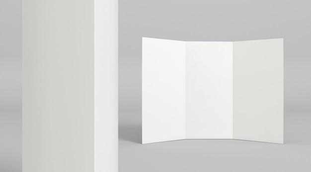Vista frontal do modelo de impressão de brochura com três dobras