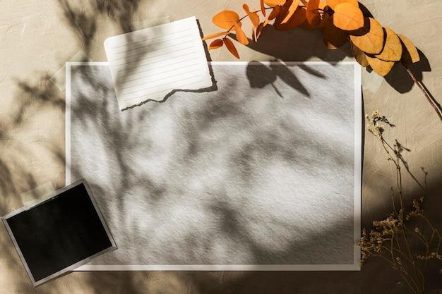 Vista frontal do moodboard de outono com espaço de cópia