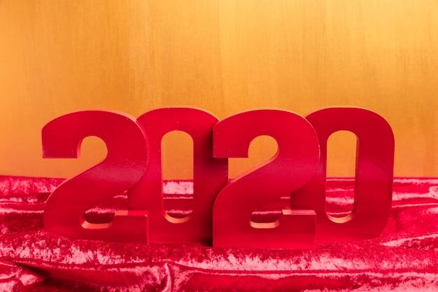 Vista frontal do número do ano novo chinês vermelho