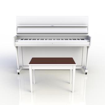 Vista frontal do piano branco de instrumento musical clássico isolado no fundo branco